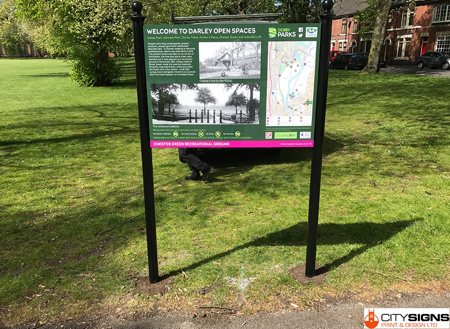 Derbyshire City Council Open Spaces Informational Signs
